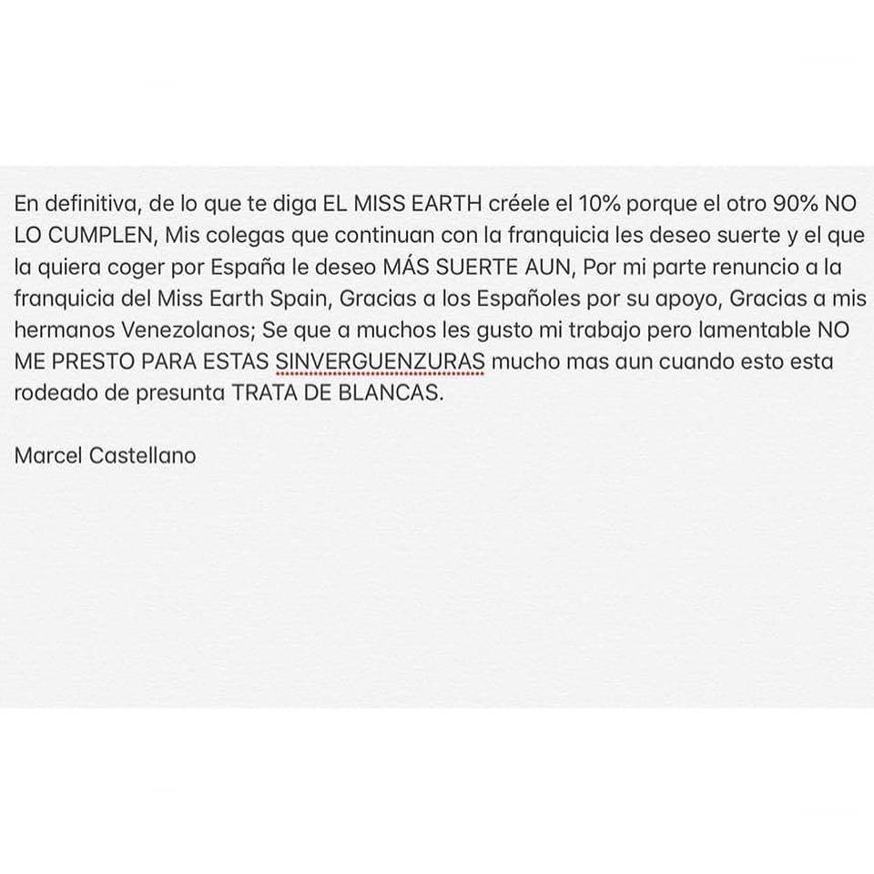 ATENCIÓN: España deja la franquicia de Miss Earth y da unas explosivas declaraciones en voz de su director: @marcelcastellano  Z3ormawo
