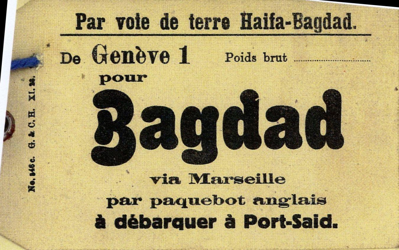 Beutelfahnen der Schweizer Post mit Bezug auf die Overland Mail Baghdad-Haifa CH_Parcel_Tag