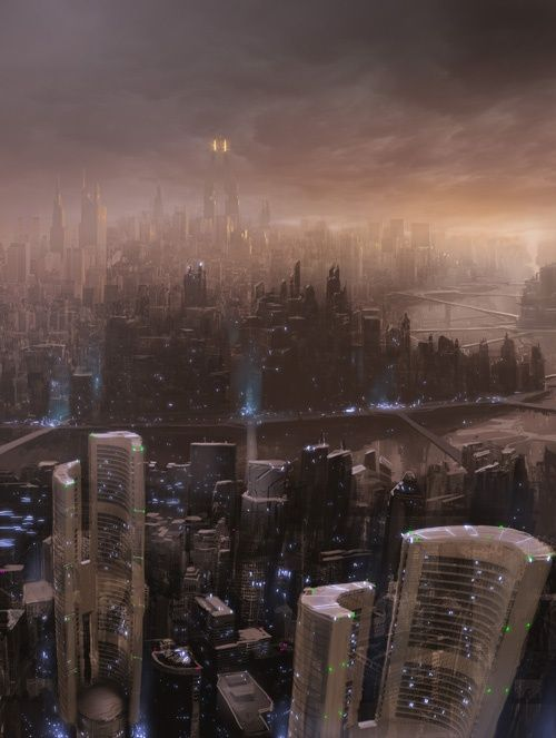 Futur... Futuristic-city-skyline-by-razer