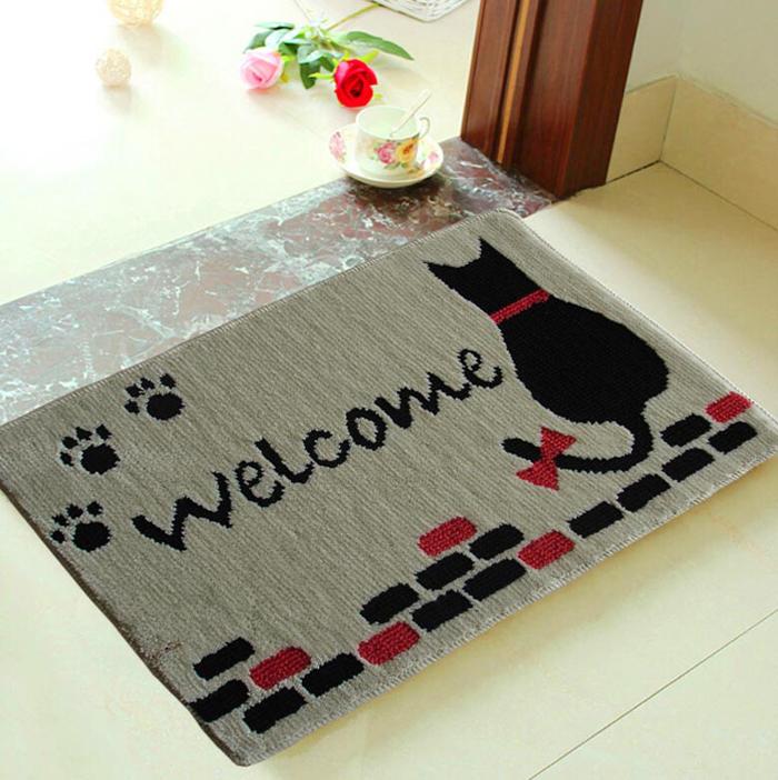 Apresentação Imagem-do-gato-animal-dos-desenhos-animados-com-logo-bem-vindo-corredor-e-porta-mat-chirldren