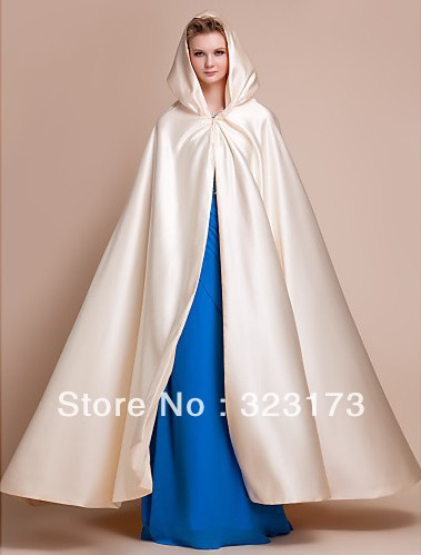 The Comedy of Errors (Thurdok) Ivory-Extra-Long-Sleeveless-Satin-Wedding-Evening-Hood-Poncho-More-Colors-Cape-Hat-Winter-Wedding-White