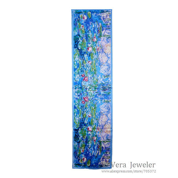[Relaxed] Thunder and Rain OOC 100-Luxurious-Satin-Charmeuse-Silk-Scarf-Art-Oil-Painting-Claude-Monet-s-Water-Lilies-Hand-Rolled