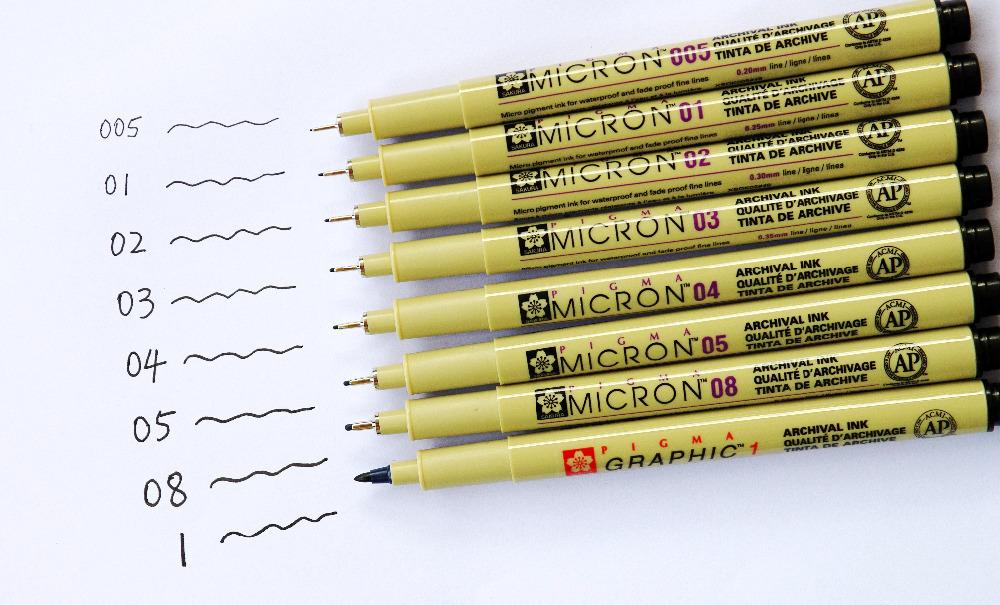 materiel de dessin Lot-6-SAKURA-005-0-2mm-Pigma-Micron-Pens-Micro-Pigment-Ink-Black-Manga-pens