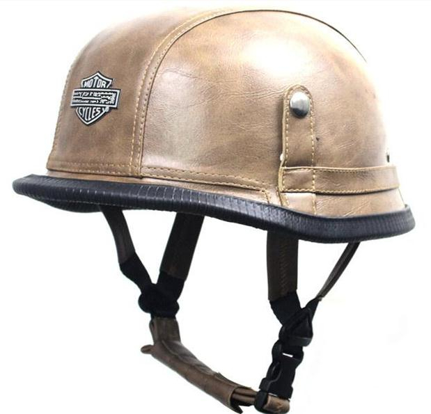 SUR NOS TËTES,CASQUES,BANDANAS ET AUTRES DOT-Approved-Retro-Leather-Motorcycle-font-b-Helmet-b-font-WWII-Big-font-b-German-b