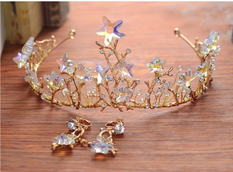 تيجان ملكية  امبراطورية فاخرة Baroque-Bridal-Hiasan-Kepala-Kristal-Star-Mahkota-Anting-Set-Retro-Hair-Band-Ornamen-Gaya-Eropa