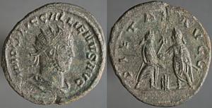 Antoniniano de Galieno. PIETAS AVGG. Emperadores dándose la mano. Samosata o Antioquía Erf_ri1916t