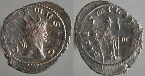 Antoniniano de Galieno. FIDES MILITVM. Fides con cetro y estandarte. Roma Erf_ri2352t