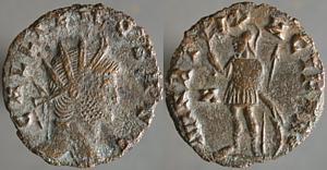 Antoniniano de Galieno. MARTI PACEFERO. Marte estante a izq. Roma Erf_ri2413t