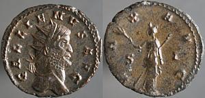Antoniniano de Galieno. PAX AVG. Paz a izq. Siscia Erf_ri2578t