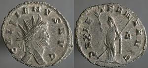 Antoniniano de Galieno. PAX AETERNA AVG. Paz estante a izq. Roma Erf_ri2836t