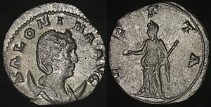 Antoniniano de Salonina. VESTA. Vesta estante a izq. Roma Erf_ri3273t