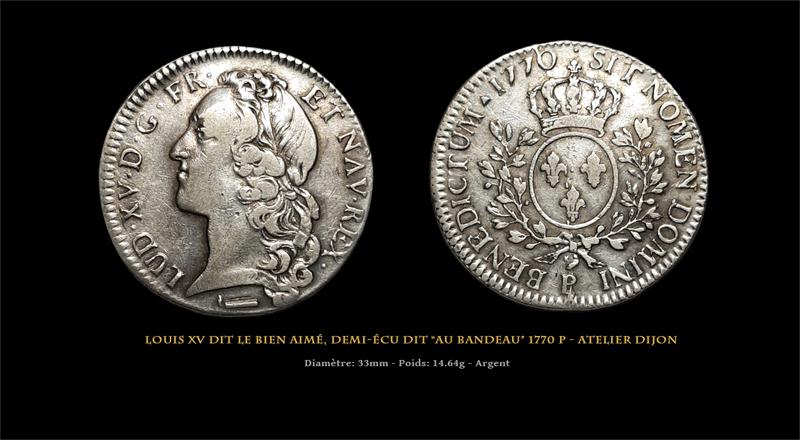 """Louis XV Demi-écu dit """"au bandeau"""" 1770 P - Dijon Master1"""