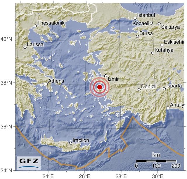 Superficial y demoledor sismo en Turquía Gfz2020vimx