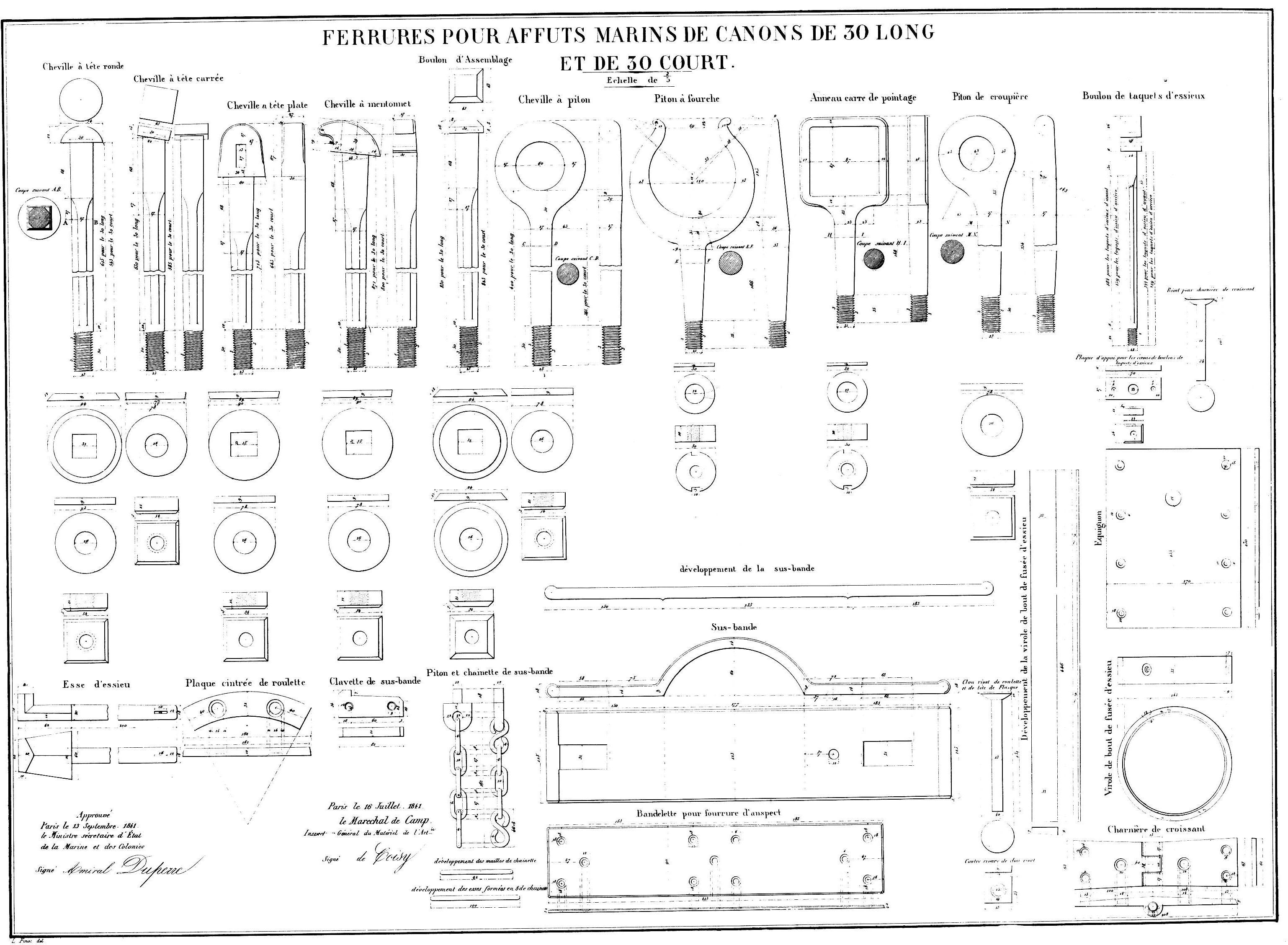 Canon-obusier à la Paixhan, modèle  1842, no 1 - Page 6 Ferrures