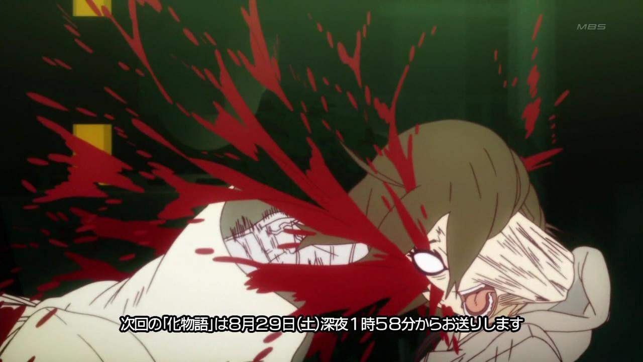 L'animation japonaise Bakemonogatari-06-araragi-eats-monkey-punch