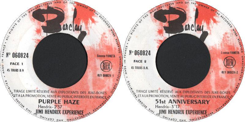 Discographie : 45 Tours : SP,  EP,  Maxi 45 tours 1967%20Barclay%20060.824%20-%20Purple%20Haze%20-%2051st%20Anniversary