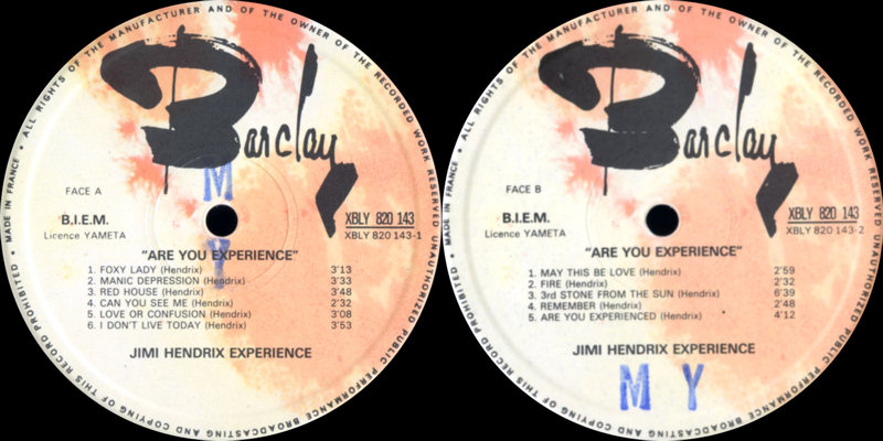 Discographie : Made in Barclay - Page 2 AreYouExperiencedBarclay0820143Label