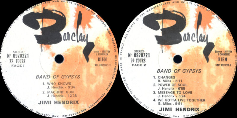 Discographie : Made in Barclay - Page 2 BandOfGypsyBarclay0920221Label