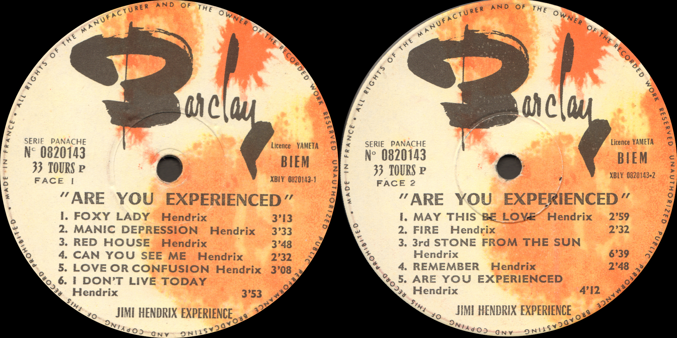 Discographie : Made in Barclay - Page 5 Jimi%20Hendrix%20-%20Are%20You%20Experienced%20-%20Barclay%20820143%20-%20Label%20France