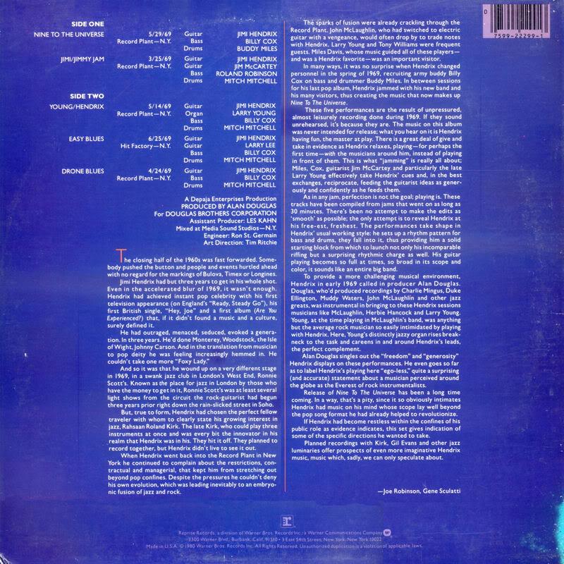 Nine To The Universe (1980) NineToTheUniversepromoBack