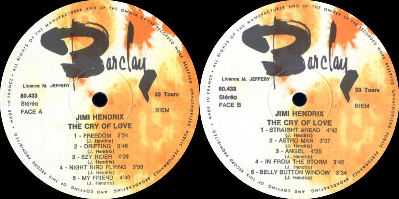Discographie : Made in Barclay - Page 2 TheCryOfLoveBarclay080433Label