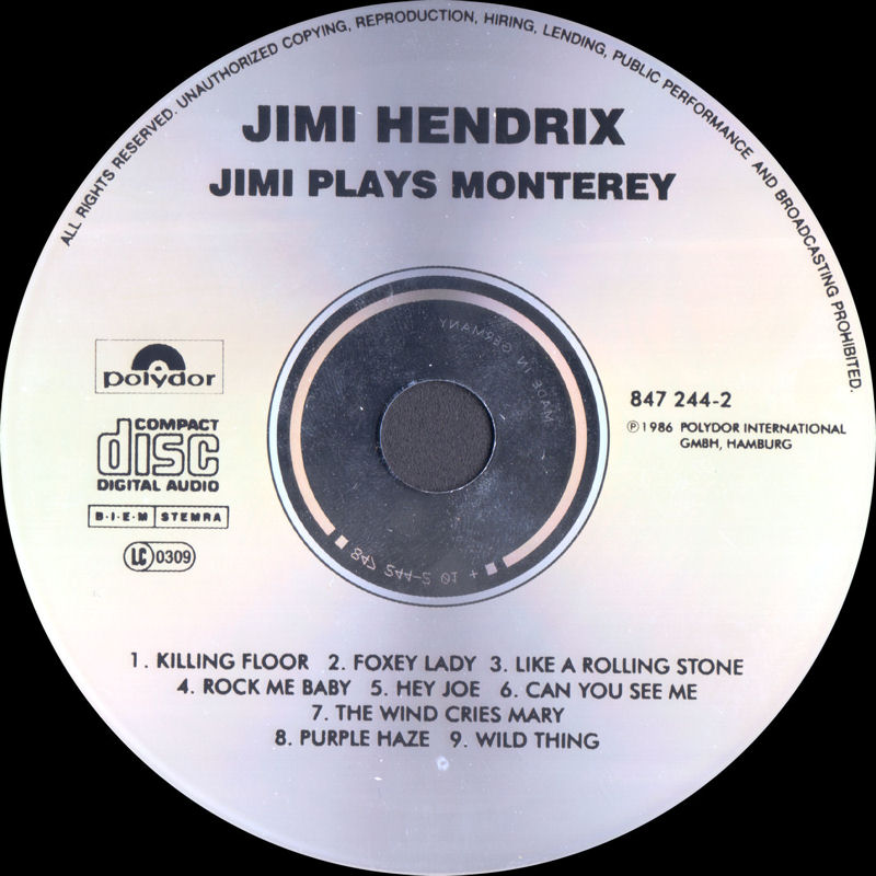 Discographie : Compact Disc   - Page 3 JimiPlayMontereyPolydor847244-21986Label_zps853c0b39