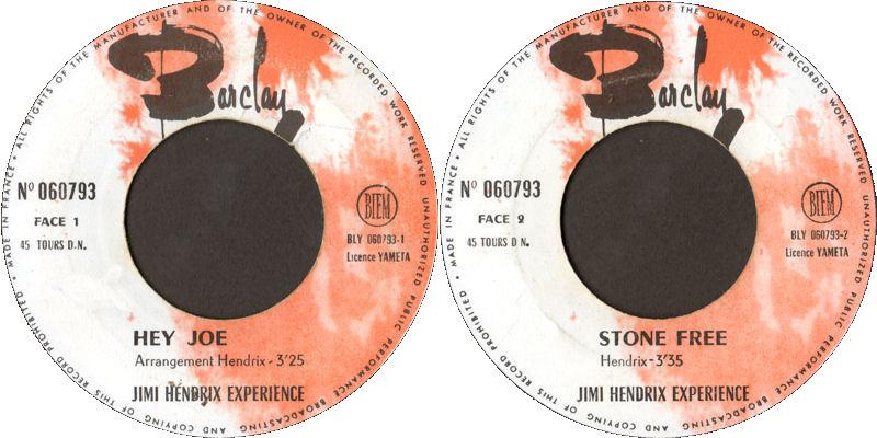 Discographie : 45 Tours : SP,  EP,  Maxi 45 tours 1967%20Barclay060793HeyJoe-StoneFree