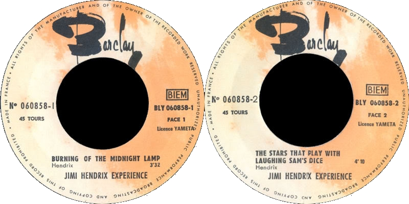 Discographie : Made in Barclay - Page 3 1967%20Barclay060858-BurningOfTheMidnightLamp-TheStarsThatPlayWithLaughingSamsDiceLabel