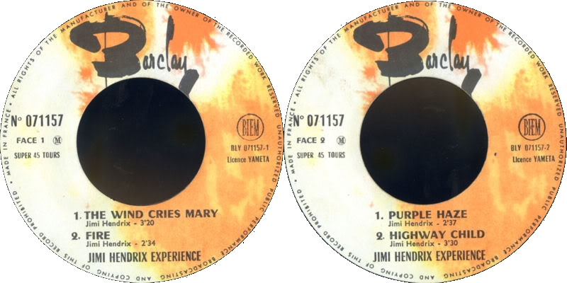 Discographie : Made in Barclay - Page 2 1967%20EP%20Barclay%20071157-TheWindCriesMary-Fire-PurpleHaze-HighwayChildLabel
