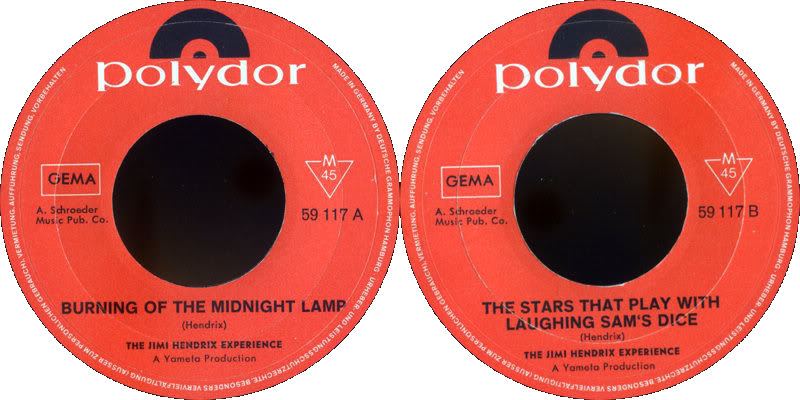 Discographie : 45 Tours : SP,  EP,  Maxi 45 tours - Page 8 1967%20Polydor%20-BurningOfTheMidnightLamp-TheStarThatPlayWithLaughingSamsDiceLabel%20Germany