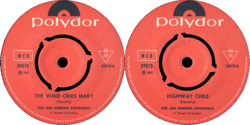 Discographie : 45 Tours : SP,  EP,  Maxi 45 tours - Page 8 1967%20Polydor%2059078--TheWindCriesMary-HighwayChileLabel%20Scandinavie