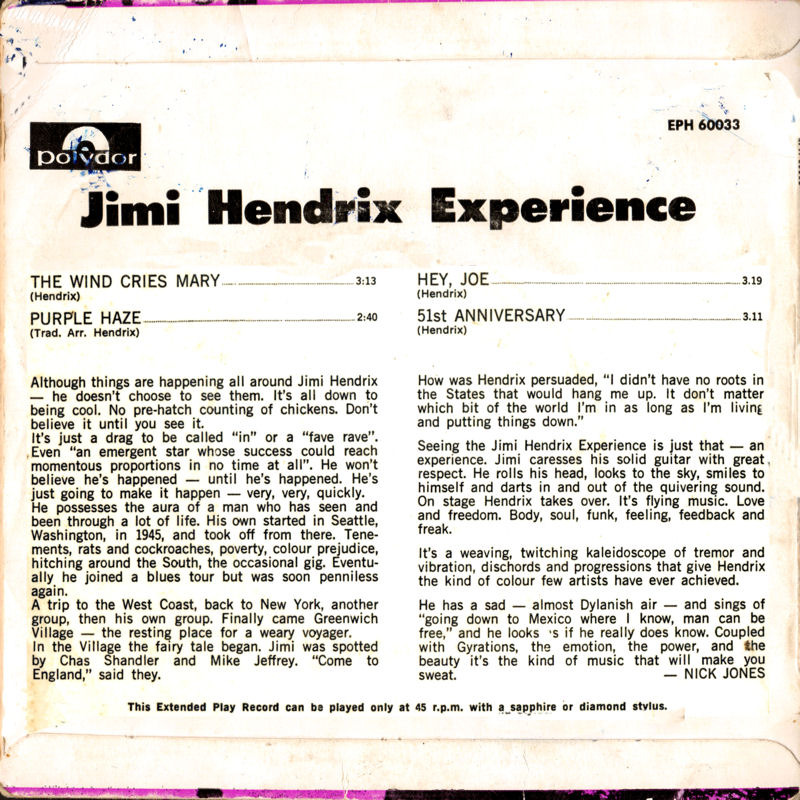 Discographie : 45 Tours : SP,  EP,  Maxi 45 tours - Page 11 1967%20Polydor%20EPH60033%20-%20The%20Wind%20Cries%20Mary%20-%20Purple%20Haze%20-%20Hey%20Joe%20-%2051st%20Anniversary%20Back%20Australie