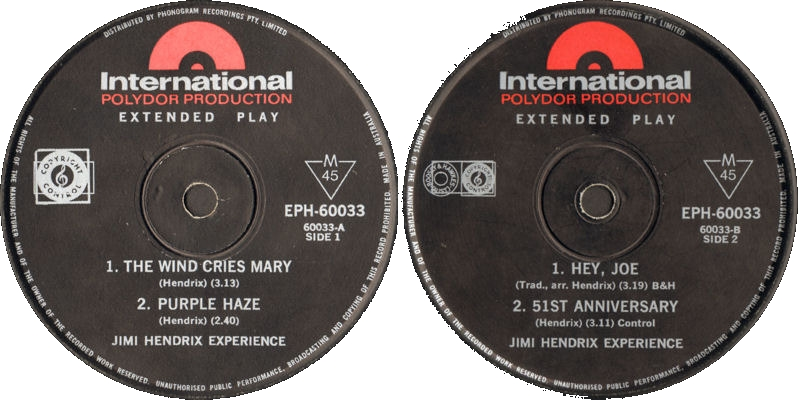 Discographie : 45 Tours : SP,  EP,  Maxi 45 tours - Page 11 1967%20Polydor%20EPH60033%20-%20The%20Wind%20Cries%20Mary%20-%20Purple%20Haze%20-%20Hey%20Joe%20-%2051st%20Anniversary%20Label%20Australie