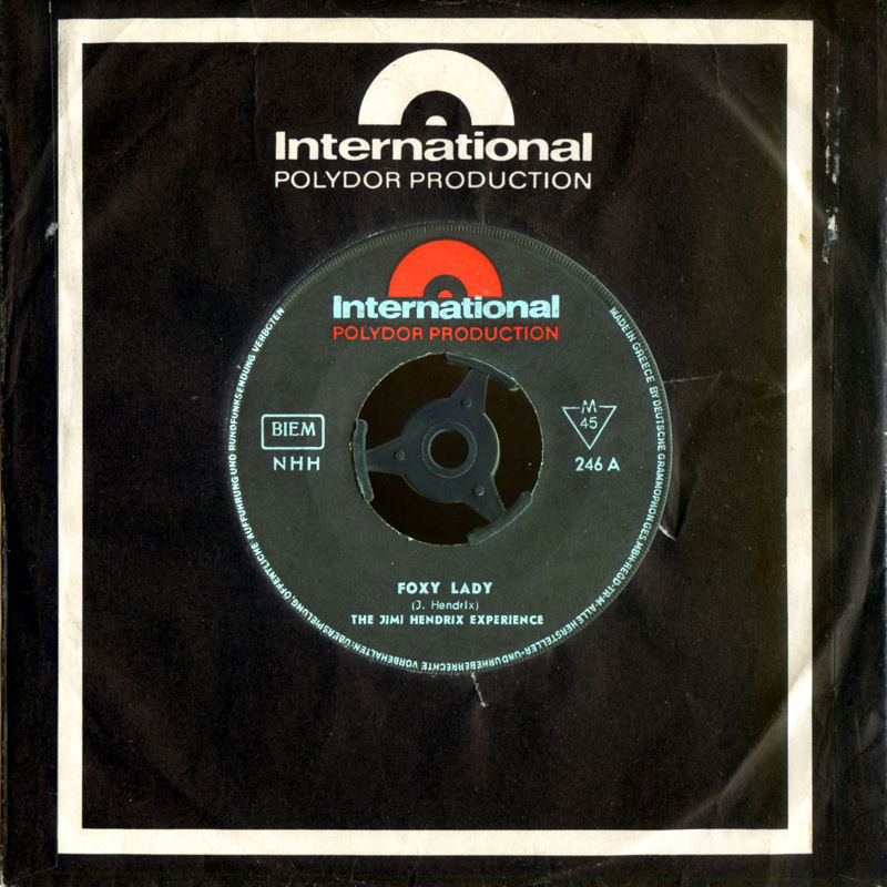 Discographie : 45 Tours : SP,  EP,  Maxi 45 tours 1967%20Polydor%20International%20246-FoxyLady-ManicDepressionFront
