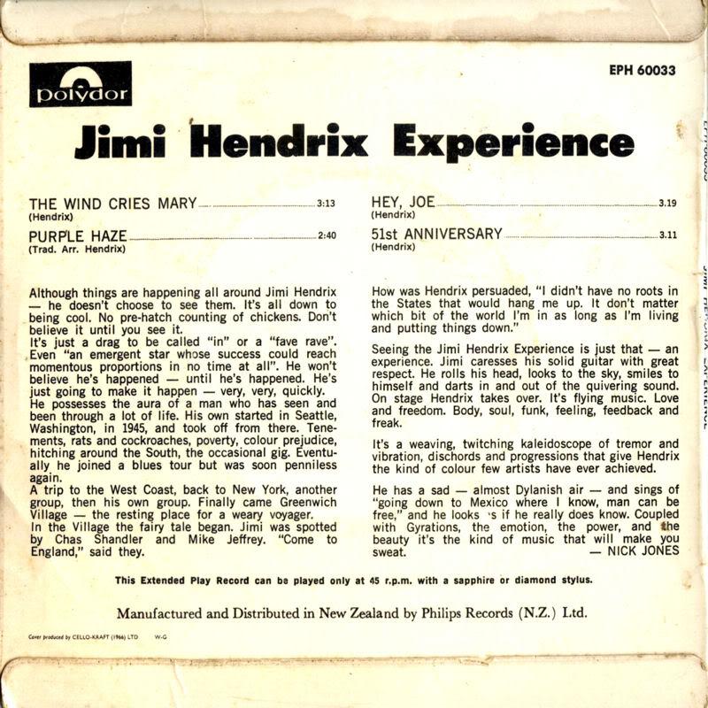 Discographie : 45 Tours : SP,  EP,  Maxi 45 tours - Page 4 1967%20PolydorEPH60033-TheWindCriesMary-PurpleHaze-HeyJoe-51stAnniversaryBack