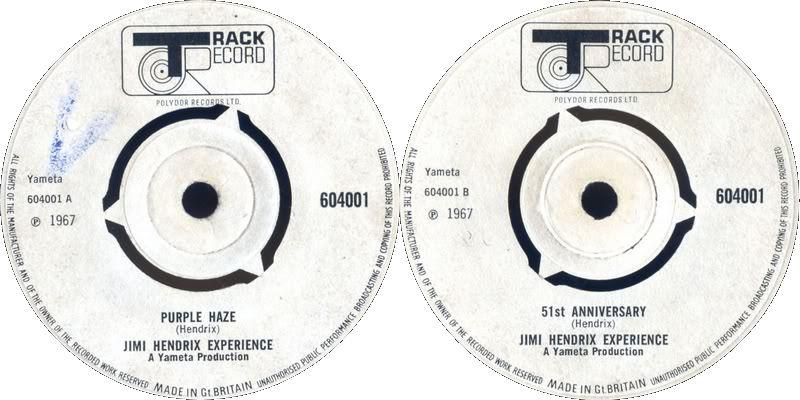Discographie : 45 Tours : SP,  EP,  Maxi 45 tours - Page 8 1967%20Track%20604001%20PurpleHaze-51stAnniversary%20Blanc
