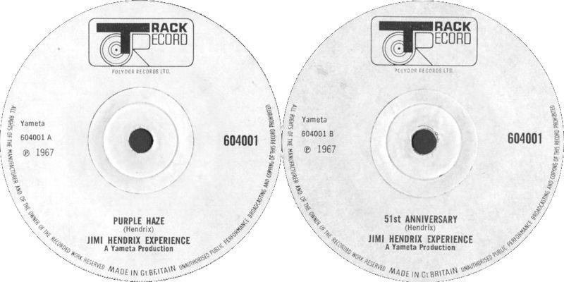 Discographie : 45 Tours : SP,  EP,  Maxi 45 tours - Page 11 1967%20Track%20604001-PurpleHaze-51stAnniversary-rondblancplein