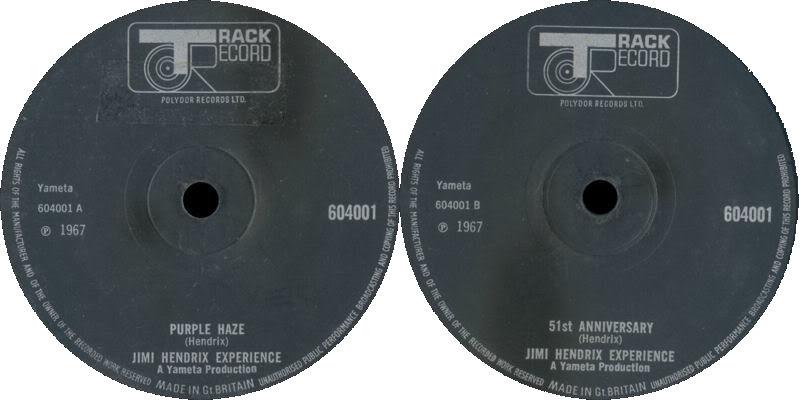 Discographie : 45 Tours : SP,  EP,  Maxi 45 tours - Page 8 1967%20Track%20604001-PurpleHaze-51stAnniversarylabelnoir
