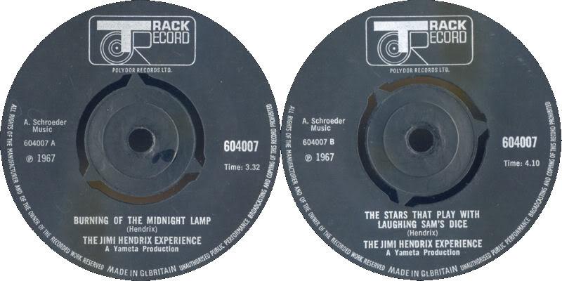 Discographie : 45 Tours : SP,  EP,  Maxi 45 tours - Page 3 1967%20Track%20604007-BurningOfTheMidnightLamp-TheStarThatPlayWithLaughingSamsDice