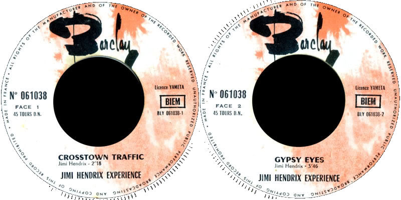 Discographie : Made in Barclay - Page 2 1968%20Barclay%20061038CrosstownTraffic-GypsyEyesLabel1