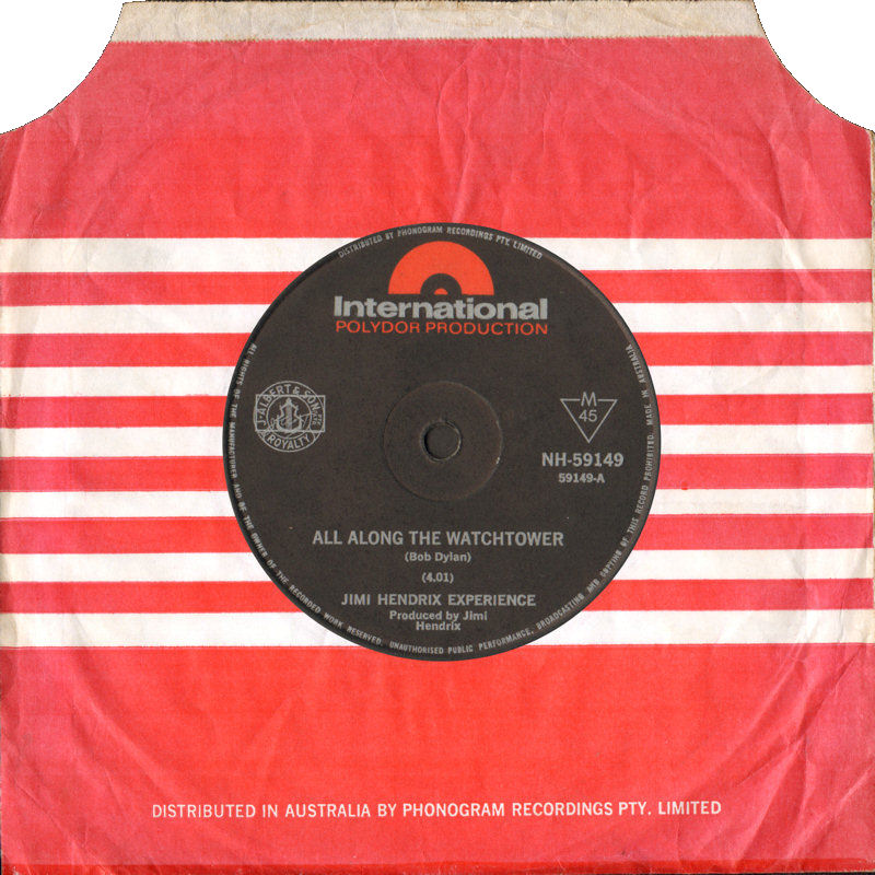 Discographie : 45 Tours : SP,  EP,  Maxi 45 tours 1968%20Polydor%20International%20NH-59149%20AllAlongTheWatchtower