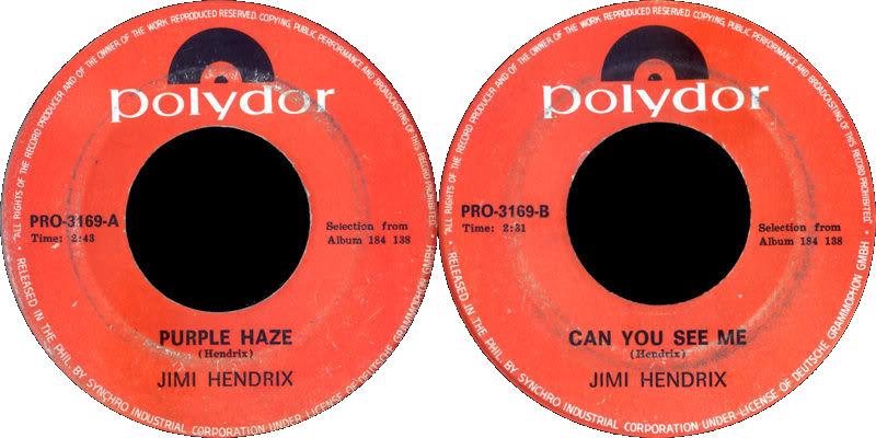 Discographie : 45 Tours : SP,  EP,  Maxi 45 tours - Page 8 1968%20Polydor%20PRO3169-PurpleHaze-CanYouSeeme
