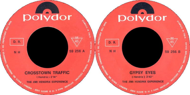 Discographie : 45 Tours : SP,  EP,  Maxi 45 tours - Page 4 1968%20Polydor59256CrosstownTraffic-GypsyEyesLabel