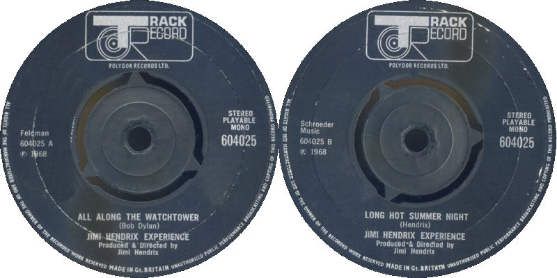 Discographie : 45 Tours : SP,  EP,  Maxi 45 tours - Page 3 1968%20Track%20604025-AllAlongTheWatchtower-LongHotSummerNight