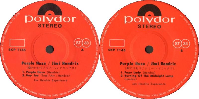 Discographie : 45 Tours : SP,  EP,  Maxi 45 tours - Page 10 1969%20Polydor%20SKP-1145-PurpleHaze-HeyJoe-FoxyLady-BurningOfTheMidnightLampLabel