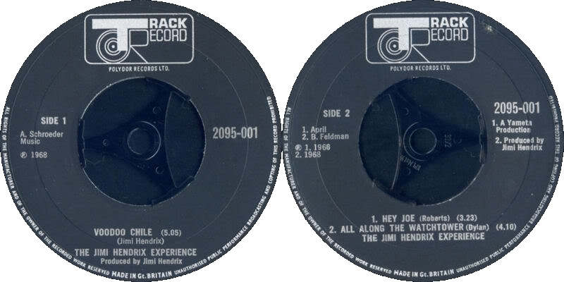 Discographie : 45 Tours : SP,  EP,  Maxi 45 tours 1970%20Polydor%202095001VoodooChile-HeyJoe-AllAlongTheWatchtowerLabel