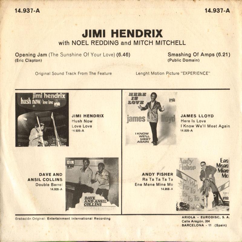 Discographie : 45 Tours : SP,  EP,  Maxi 45 tours - Page 10 1971%20Ariola14937-A-OpeningJamSunshineOfYourLove-SmashingOfAmpsBack