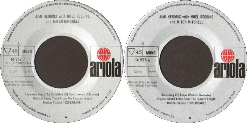 Discographie : 45 Tours : SP,  EP,  Maxi 45 tours - Page 10 1971%20Ariola14937-A-OpeningJamSunshineOfYourLove-SmashingOfAmpsLabel