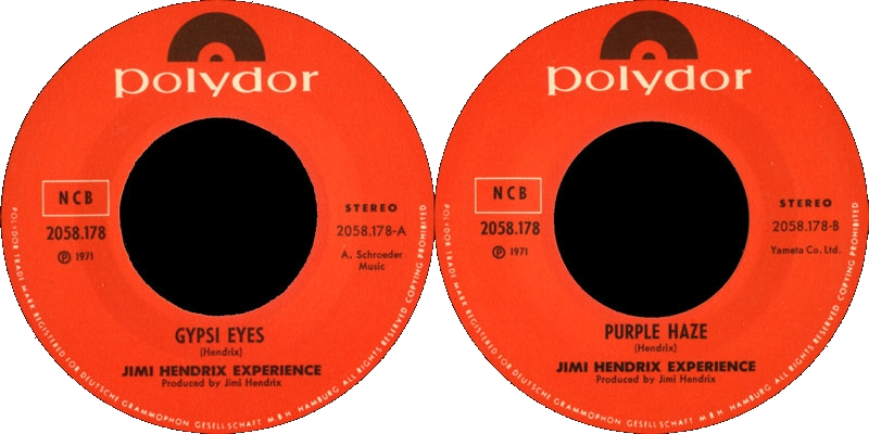 Discographie : 45 Tours : SP,  EP,  Maxi 45 tours - Page 9 1971%20Polydor%202058178-GypsyEyes-PurpleHazeLabelSweden