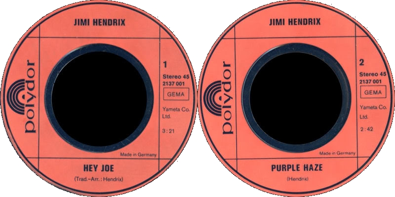 Discographie : 45 Tours : SP,  EP,  Maxi 45 tours 1972%20Polydor%202607001HeyJoe-PurpleHaze-TheWindCriesMary-AllAlongTheWatchtowerLabel1